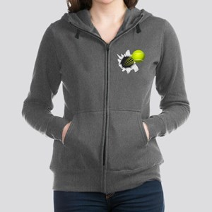 Tennis Ball Flying Out Of Hole Women's Zip Hoodie
