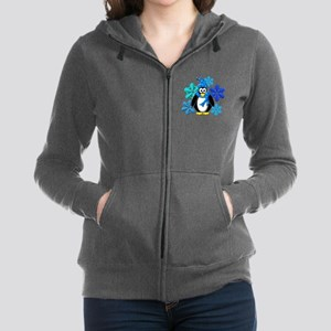Penguin Snowflakes Winter Desig Women's Zip Hoodie