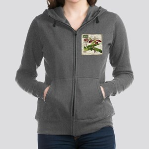 vintage french botanical orchid Women's Zip Hoodie