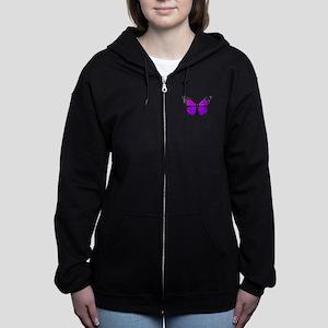Purple Butterfly Custom Text Women's Zip Hoodie