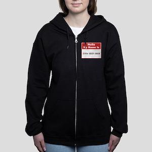 Custom Name Tag Women's Zip Hoodie