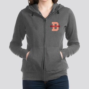 CUSTOM Initial and Name Red Women's Zip Hoodie