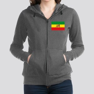 Ethiopia Flag Lion of Judah Rasta Reggae Zip Hoodi