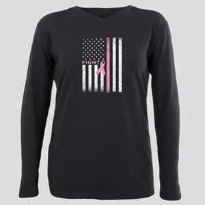 Ribbon Flag Fight Plus Size Long Sleeve Tee