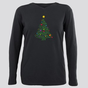 Swirly Christmas Tree Plus Size Long Sleeve Tee