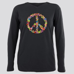 Peace Sign Flowers Plus Size Long Sleeve Tee