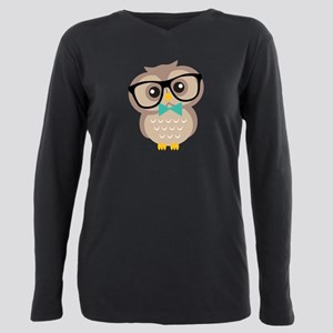 Cute Hipster Owl Plus Size Long Sleeve Tee