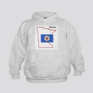 Minnesota State Map and Flag Kids Hoodie