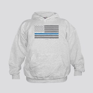 Law Enforcement Blue Line Flag Kids Hoodie