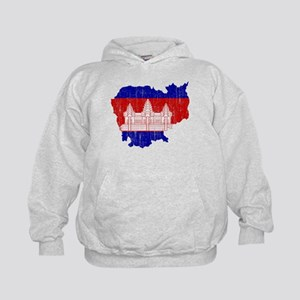 Cambodia Flag And Map Kids Hoodie