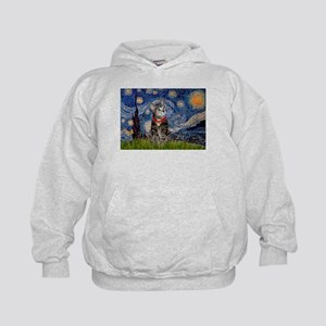 Starry Night / Tiger Cat Kids Hoodie