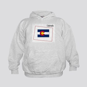 Colorado State Map and Flag Kids Hoodie