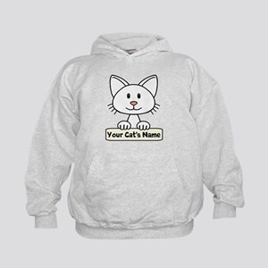 Personalized White Cat Kids Hoodie