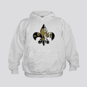 Fleur de lis bling black and gold Kids Hoodie