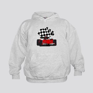 Red Race Car with Checkered Flag Kids Hoodie