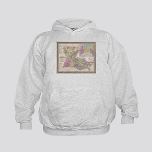 Vintage Map of Louisiana (1853) Kids Hoodie
