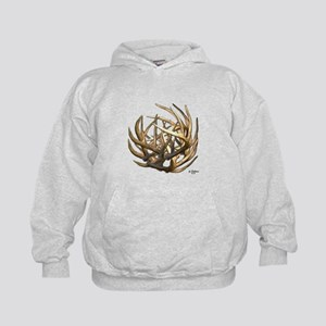 Whitetail Buck Deer Antler Art Cluster Kids Hoodie