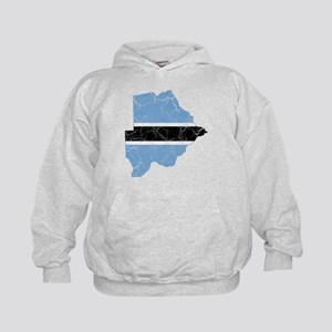 Botswana Flag And Map Kids Hoodie