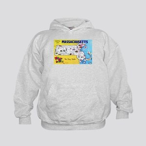Massachussetts Map Greetings Kids Hoodie