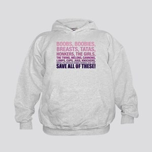 Breast Cancer Awareness- Save All Of T Kids Hoodie