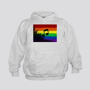 Musical note gay rainbow art Kids Hoodie