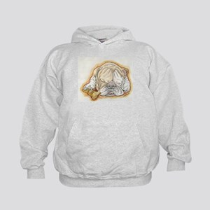 Sleepy English Bulldog with Bone Hoodie