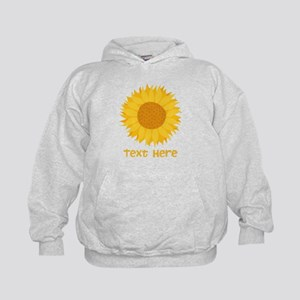 Sunflower. Custom Text. Kids Hoodie