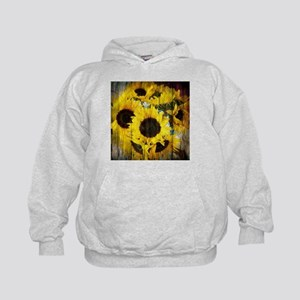 western country yellow sunflower Kids Hoodie