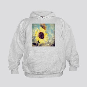 romantic summer watercolor sunflower Kids Hoodie