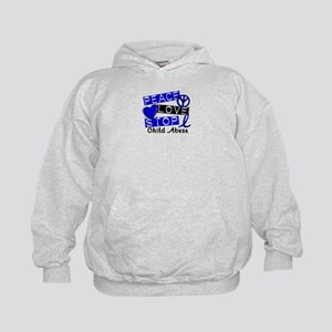 Peace Love Stop Child Abuse 1 Kids Hoodie
