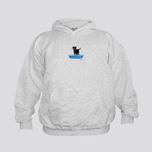 Black Labrador Retriever in kiddie pool Hoodie