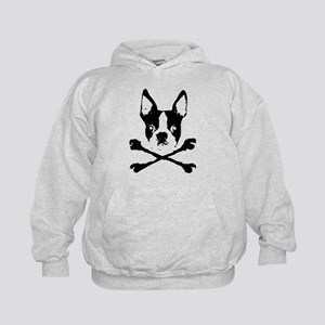 Boston Terrier Crossbones Kids Hoodie