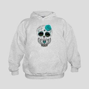 Cute Teal Blue Day of the Dead Sugar Skull Owl Hoo