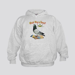 Which Way is Home? Fun Lost Pigeon Art Kids Hoodie