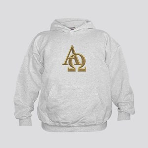 """3-D"" Golden Alpha and Omega Symbol Kids Hoodie"