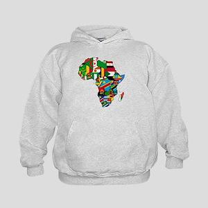 Flag Map of Africa Kids Hoodie