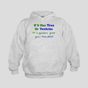 Tires Testicles Trouble Kids Hoodie