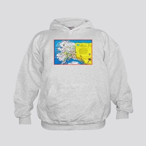 Alaska Map Greetings Kids Hoodie