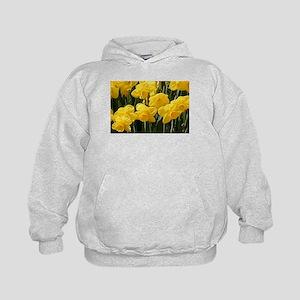 Daffodil flowers in bloom in garden Kids Hoodie