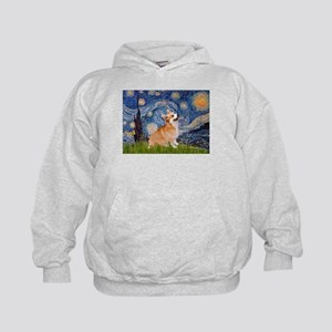 Starry Night Corgi Kids Hoodie