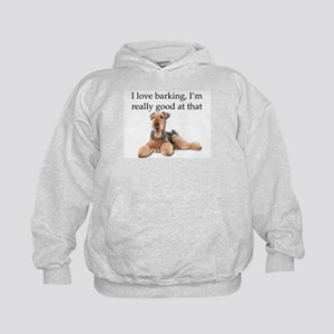 Airedale Terrier is Really good at bar Kids Hoodie