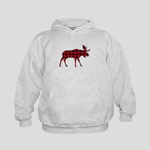 Plaid Moose Animal Silhouette Hoodie