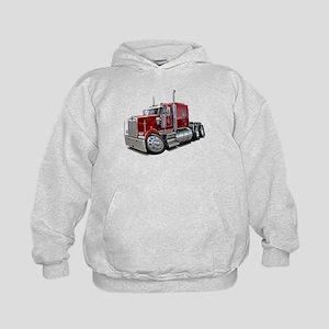 Kenworth W900 Maroon Truck Kids Hoodie