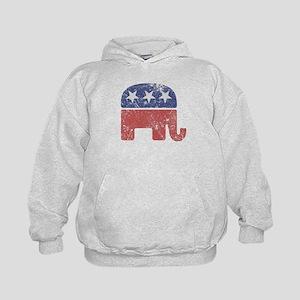 Worn Republican Elephant Kids Hoodie