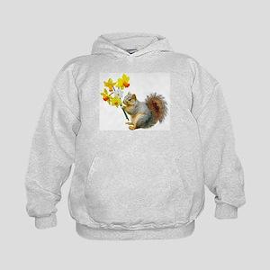 Squirrel Daffodils Kids Hoodie