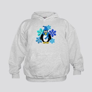Penguin Snowflakes Winter Design Kids Hoodie