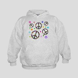 Peace symbols and flowers pat Kids Hoodie