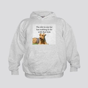 Airedale Sees no connection between hi Kids Hoodie