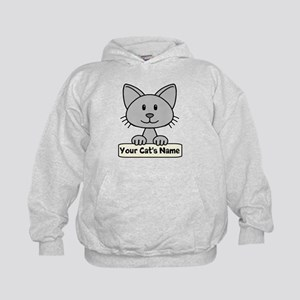 Personalized Gray Cat Kids Hoodie