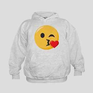 Kissing Emoji Kids Hoodie
